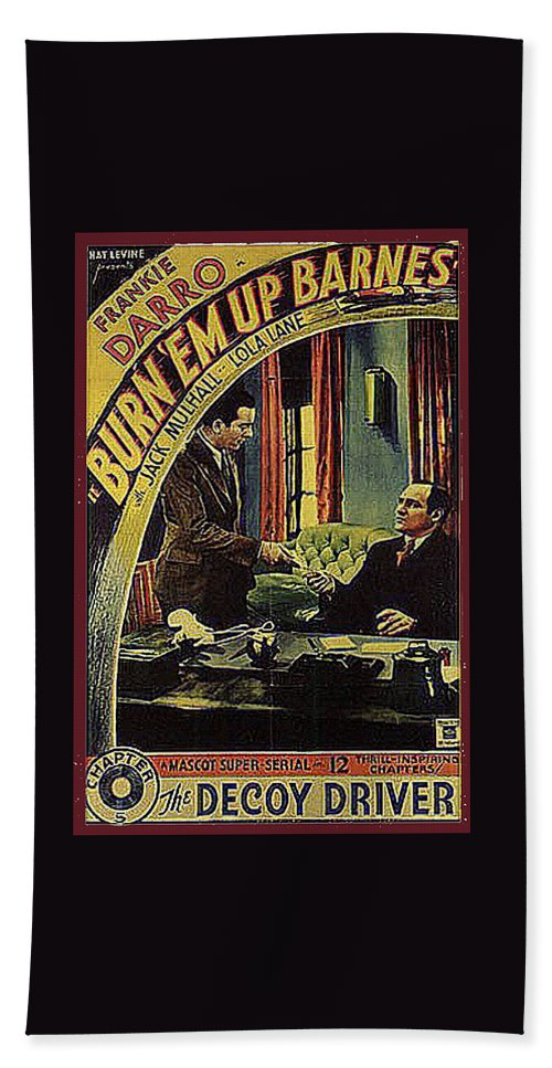 Film Homage Burn 'em Up Barns Mascot Serial 1934 Chapter 5 Lobby Card Color Added 2008 Hand Towel featuring the photograph Film Homage Burn 'em Up Barns Mascot Serial 1934 Chapter 5 Lobby Card Color Added 2008 by David Lee Guss