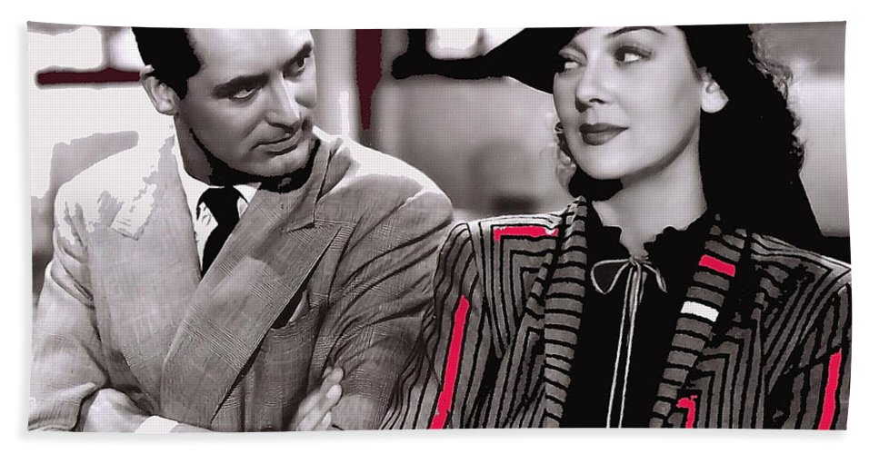 Film Homage Cary Grant Rosalind Russell Howard Hawks His Girl Friday 1940-2008 Toned Color Added Hand Towel featuring the photograph Film Homage Cary Grant Rosalind Russell Howard Hawks His Girl Friday 1940-2008 by David Lee Guss