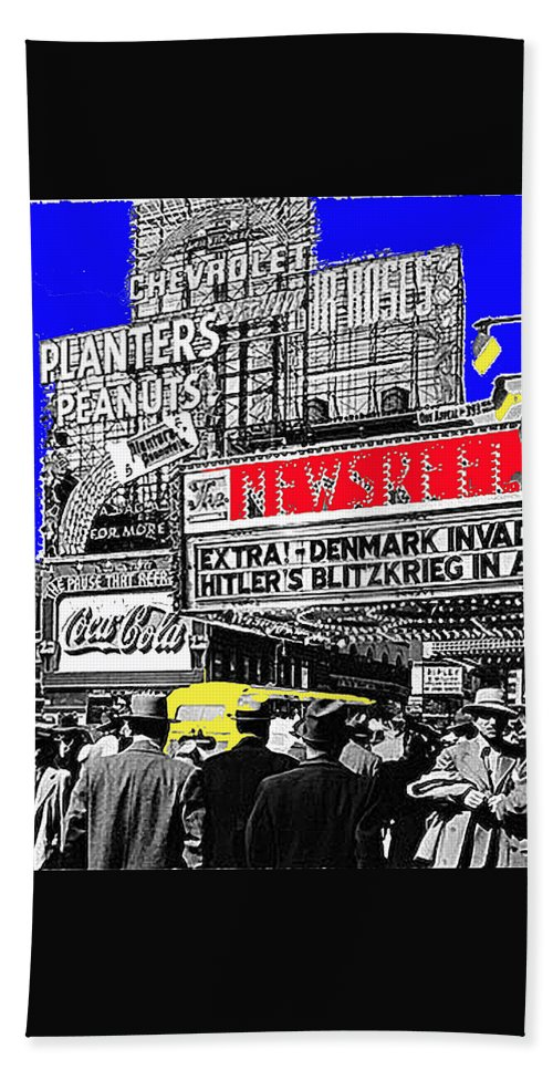 Film Homage Embassy Newsreel Theater 1940 Times Square New York City 2008 Hand Towel featuring the photograph Film Homage Embassy Newsreel Theater 1940 Times Square New York City 2008 by David Lee Guss