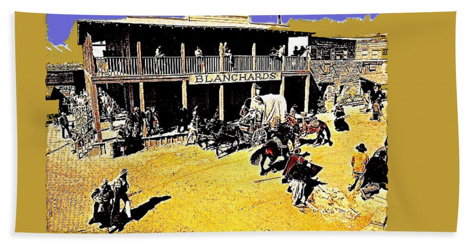 Film Homage Extras Unknown Production Old Tucson Arizona Color Added Hand Towel featuring the photograph Film Homage Extras Unknown Production Old Tucson Arizona Color Added by David Lee Guss