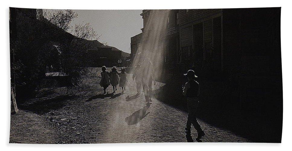 Film Homage Kirk Douglas Posse 1975 Kansas Street Old Tucson Arizona 1984 Hand Towel featuring the photograph Film Homage Kirk Douglas Posse 1975 Kansas Street Old Tucson Arizona 1984 by David Lee Guss