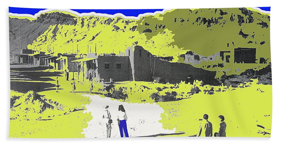 Film Homage Old Tucson Arizona In The Mid 1940's Color Drawing Added Hand Towel featuring the photograph Film Homage Old Tucson Arizona In The Mid 1940's by David Lee Guss