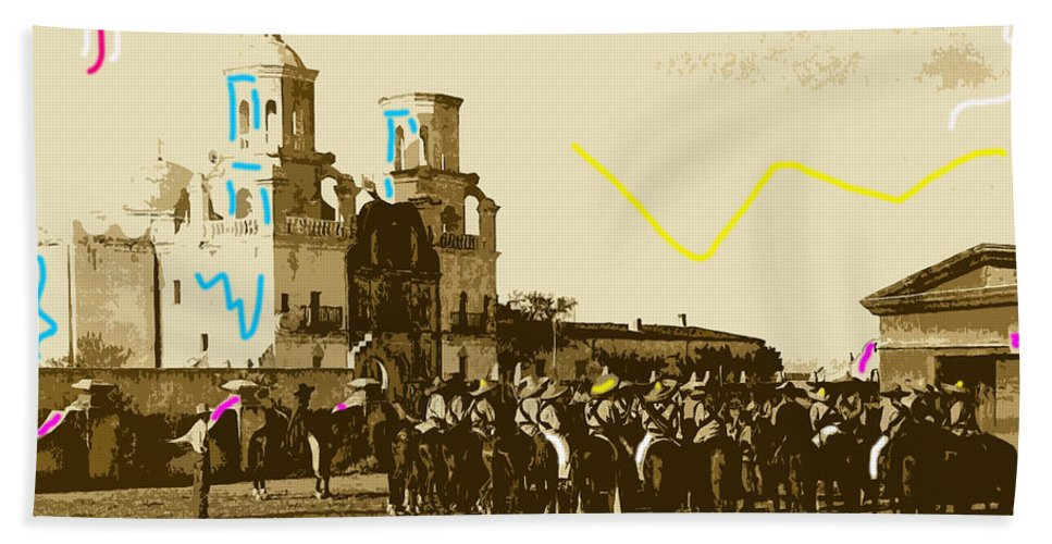 Film Homage Rouben Mamoulian Ida Lupino Leo Carrillo The Gay Desperado 1 1936 San Xavier Mission Tucson Arizona Drawing Color Added Hand Towel featuring the photograph Film Homage Rouben Mamoulian Ida Lupino The Gay Desperado 1 1936 San Xavier Tucson by David Lee Guss