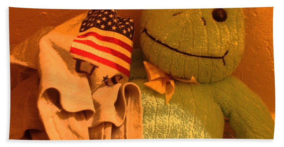 Film Homage The Muppet Movie 1979 Number 2 Froggie Smudge Stick Casa Grande Arizona 2004 American Flag Bath Sheet featuring the photograph Film Homage The Muppet Movie 1979 Number 2 Froggie Smudge Stick Casa Grande Az 2004-2009 by David Lee Guss