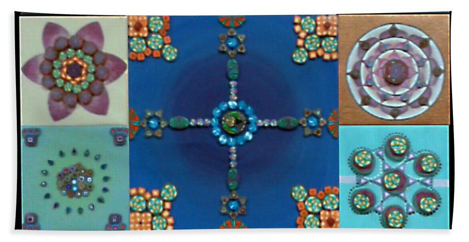 Hand Towel featuring the painting Fimo Mandala by Maya B