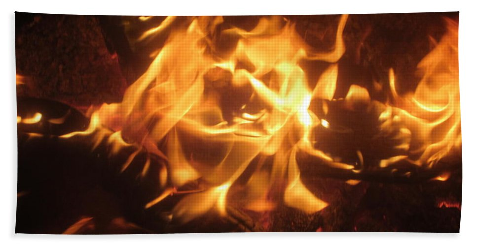 Fire Hand Towel featuring the photograph Find The Face by Jo Jurkiewicz