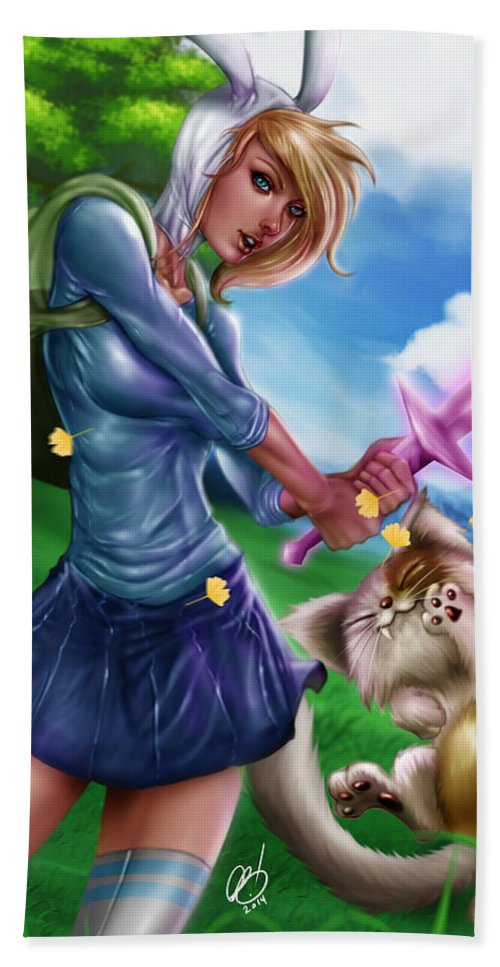 Legend Bath Sheet featuring the painting Fionna And Cake by Pete Tapang