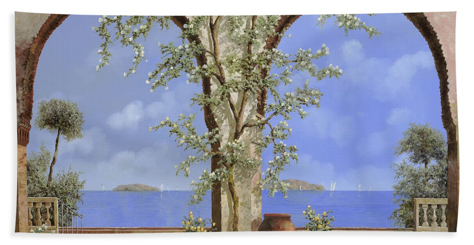 White Flowers Hand Towel featuring the painting Fiori Bianchi Sulla Parete by Guido Borelli