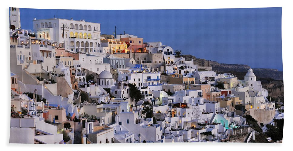 Santorini Bath Sheet featuring the photograph Fira Town During Dusk Time by George Atsametakis