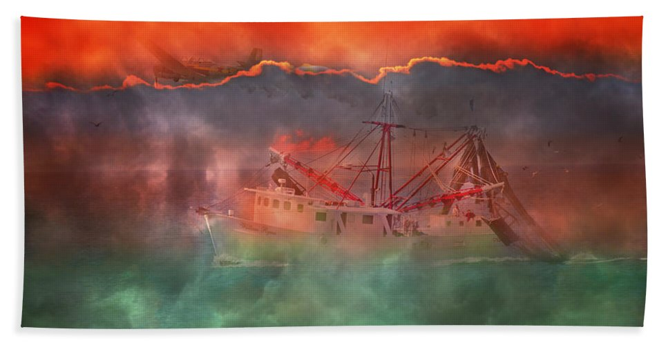 Boat Bath Sheet featuring the photograph Fire And Ice Misty Morning by Betsy Knapp