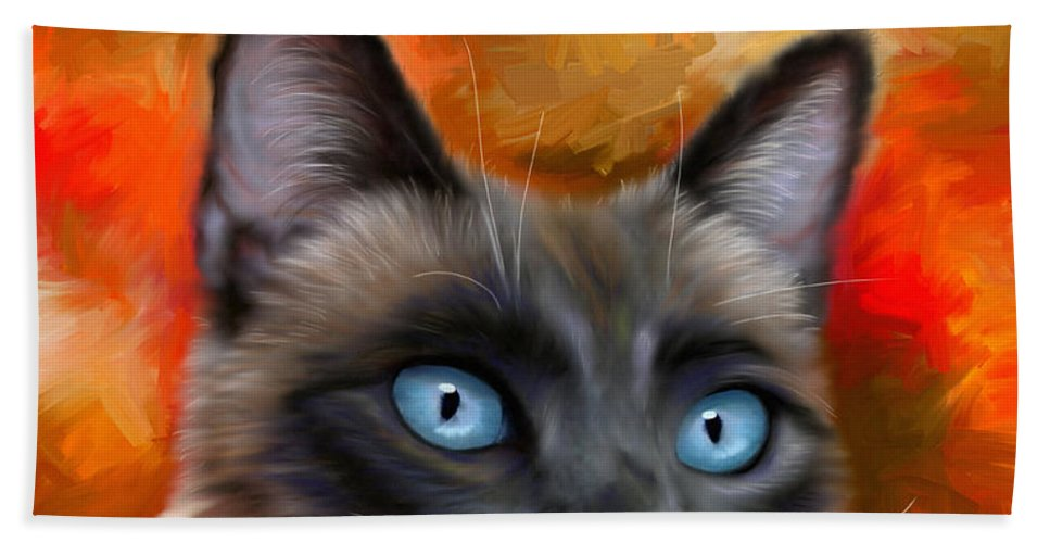 Siamese Hand Towel featuring the painting Fire And Ice - Siamese Cat Painting by Michelle Wrighton