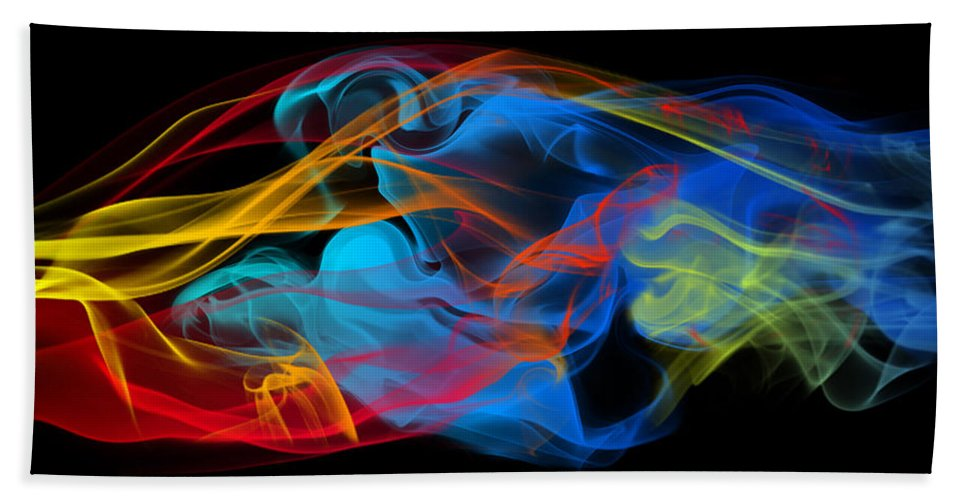 Abstract Bath Sheet featuring the photograph Fire And Ice Smoke by Jt PhotoDesign