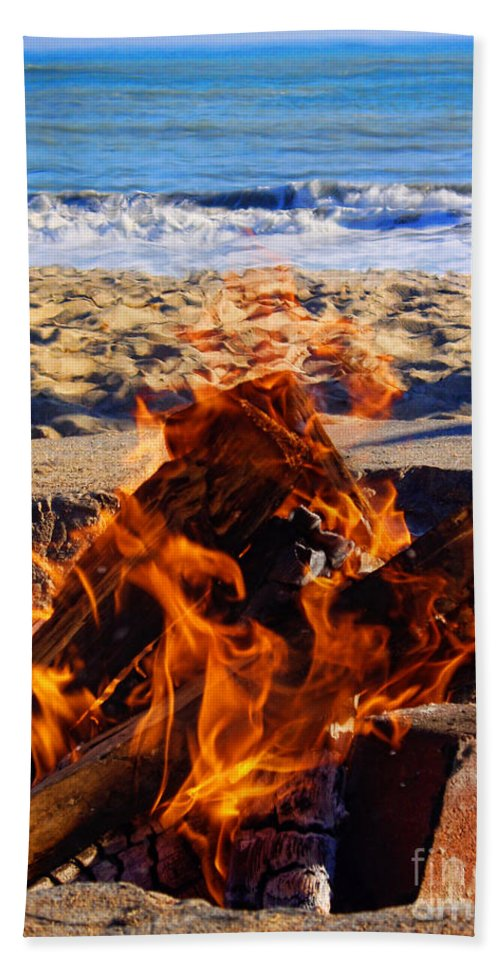 Fire At The Beach Hand Towel featuring the photograph Fire At The Beach by Mariola Bitner