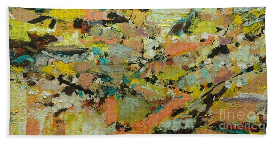 Landscape Bath Sheet featuring the painting Fire Bird by Allan P Friedlander