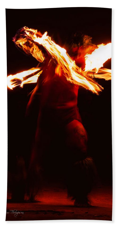 Fire Dancer Bath Sheet featuring the photograph Fire Dancer 1 by Jim Thompson