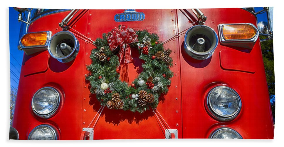 Christmas Hand Towel featuring the photograph Fire Department Christmas 1 by Tommy Anderson