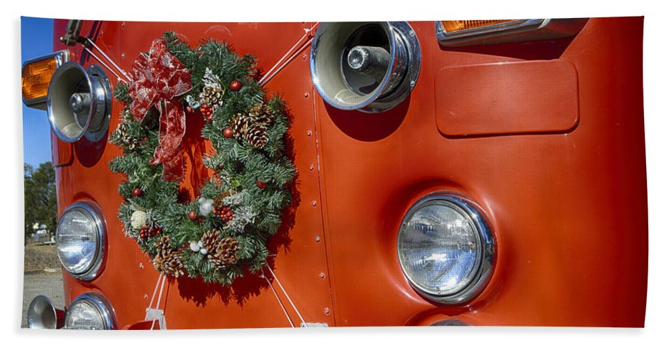 Christmas Hand Towel featuring the photograph Fire Department Christmas 2 by Tommy Anderson