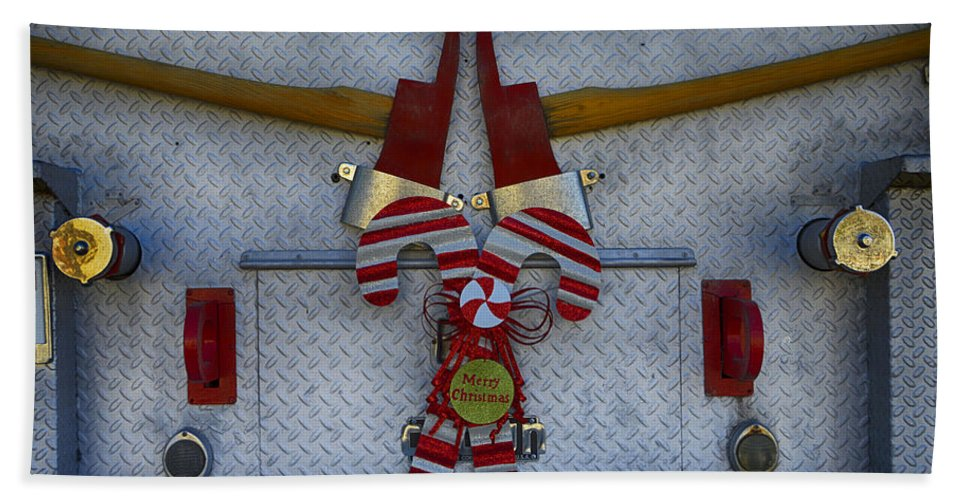 Christmas Hand Towel featuring the photograph Fire Department Christmas 3 by Tommy Anderson