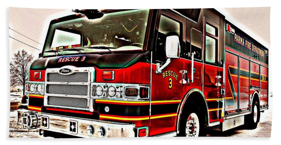 Fire Hand Towel featuring the photograph Fire Engine Red by Frozen in Time Fine Art Photography