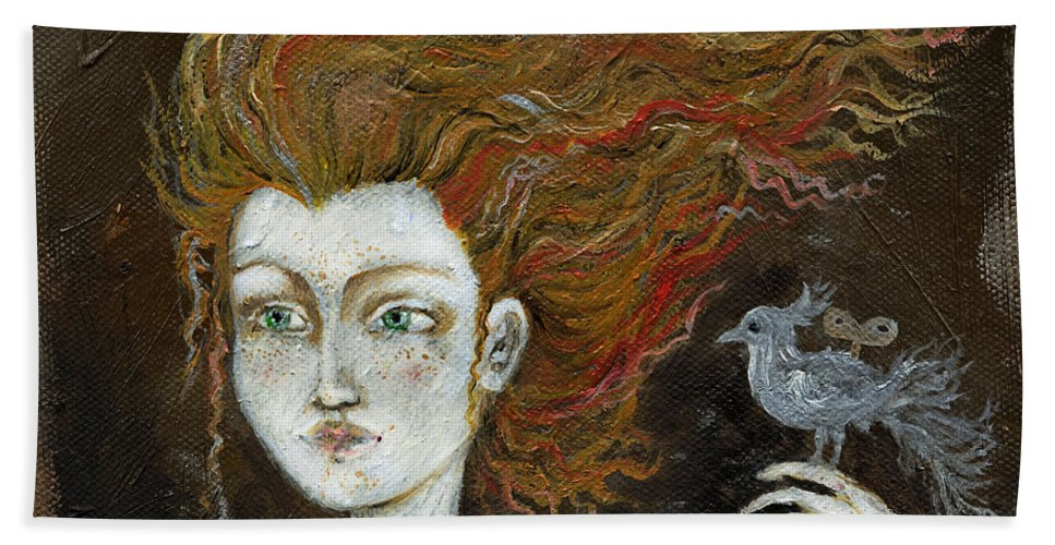 Portrait Bath Sheet featuring the painting Fire Haired Girl by Angel Ciesniarska