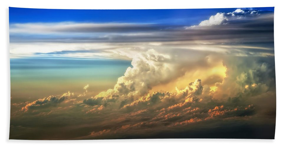 Sunset Hand Towel featuring the photograph Fire in the Sky from 35000 Feet by Scott Norris