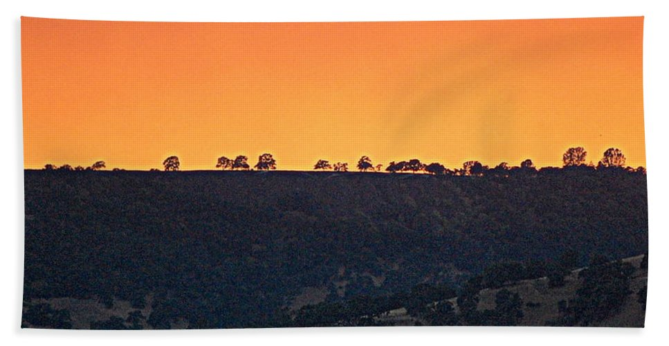 Scenic Bath Sheet featuring the photograph Fire On The Mountain by AJ Schibig