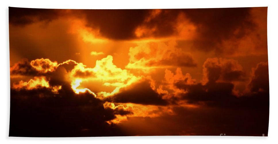 Fire Hand Towel featuring the photograph Fire Over The Ocean by Mary Deal