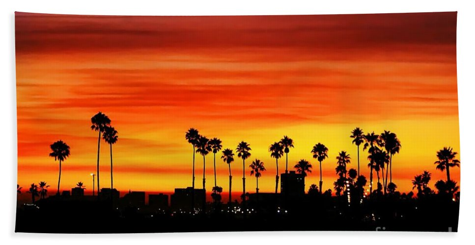 Fire Hand Towel featuring the photograph Fire Sunset In Long Beach by Mariola Bitner