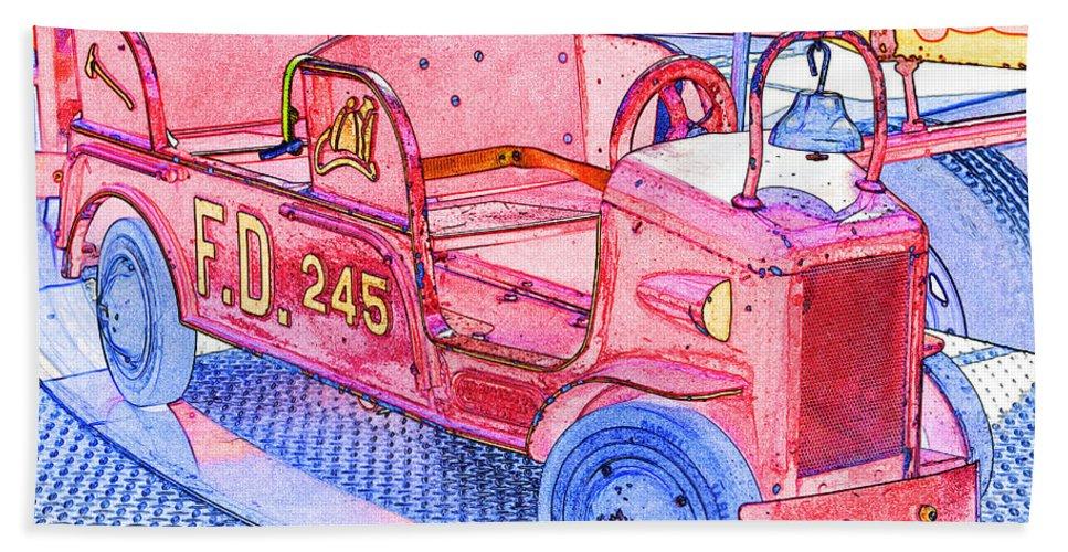 Fun Bath Sheet featuring the photograph Fire Truck by Michael Porchik