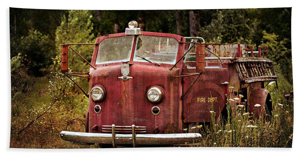 Old Fire Truck Bath Sheet featuring the photograph Fire Truck With Texture by Mary Jo Allen