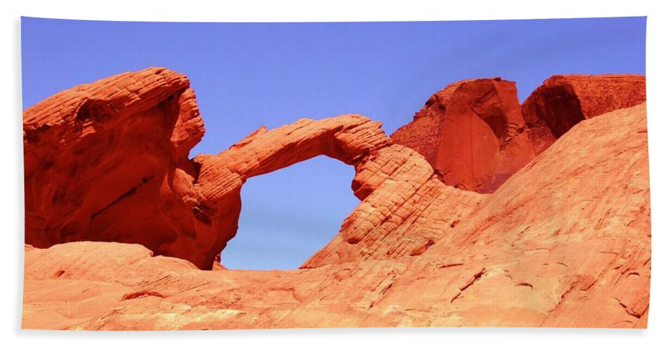 Arch Bath Sheet featuring the photograph Fire Valley Arch by DJ Florek