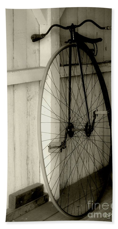 Velocipede Bath Towel featuring the photograph Firehouse Velocipede by RC deWinter