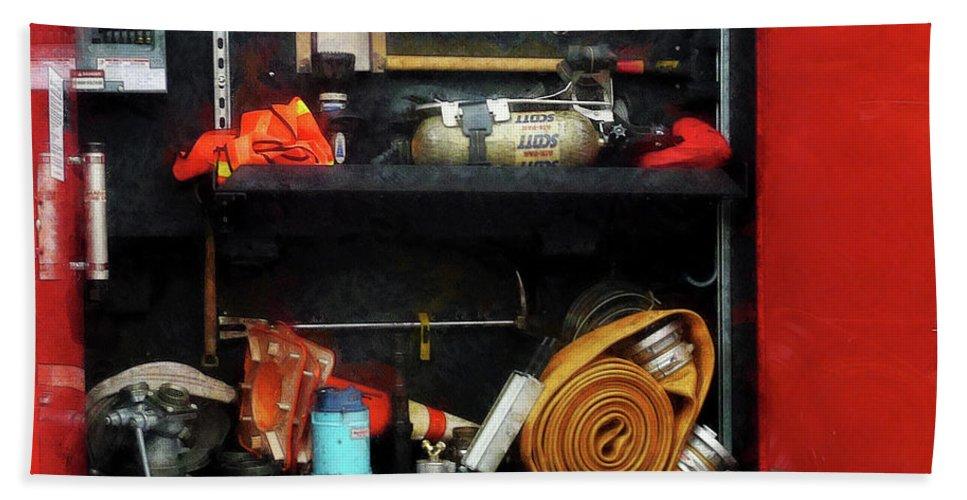 Hose Bath Sheet featuring the photograph Fireman - Fire Fighting Supplies by Susan Savad
