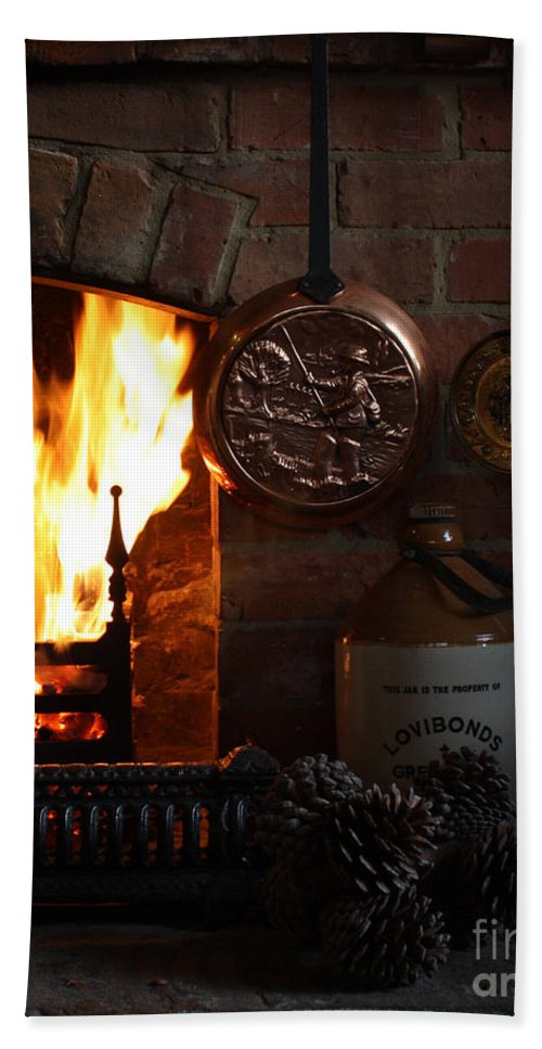 Christmas Hand Towel featuring the photograph Fireplace by Terri Waters
