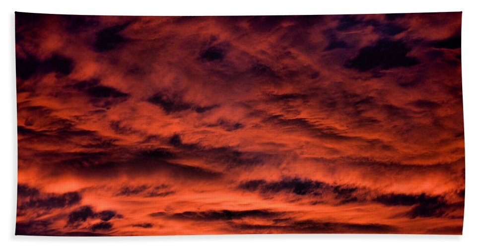 Sunset Bath Sheet featuring the photograph Fires At Dusk by Corvus Alyse