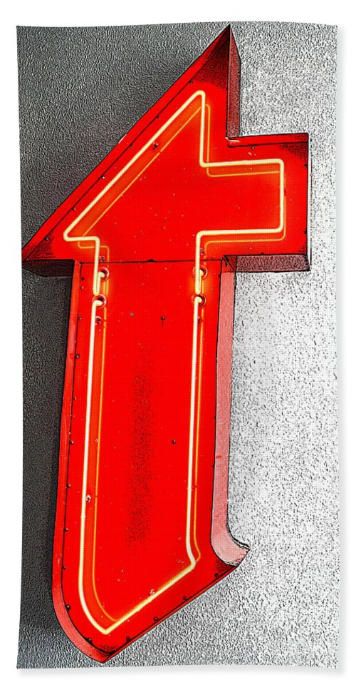 Red Bath Sheet featuring the photograph Firestone Building Red Neon T by Catherine Sherman