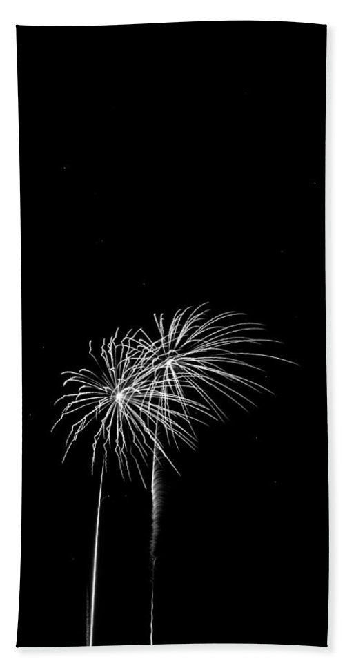 Addison Kaboom Hand Towel featuring the photograph Firework Palm Trees by Darryl Dalton