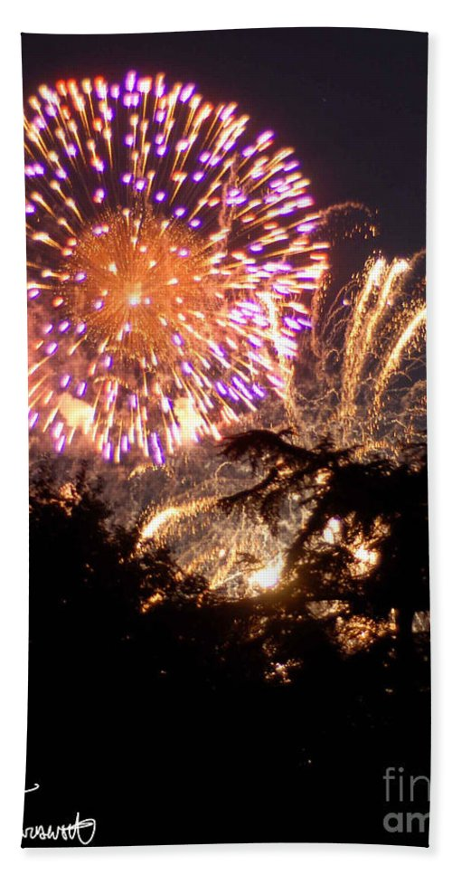 Fireworks Bath Sheet featuring the photograph Fireworks 2014 2 by Wesley Farnsworth