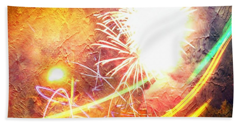 Fireworks Hand Towel featuring the photograph Fireworks As A Painting by Karl Rose