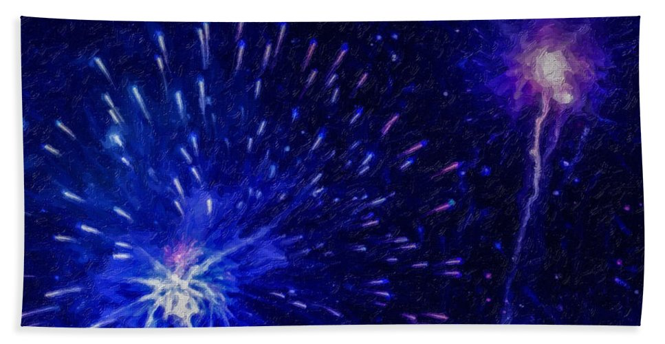 Fireworks At Night Bath Sheet featuring the painting Fireworks At Night 1 by Jeelan Clark