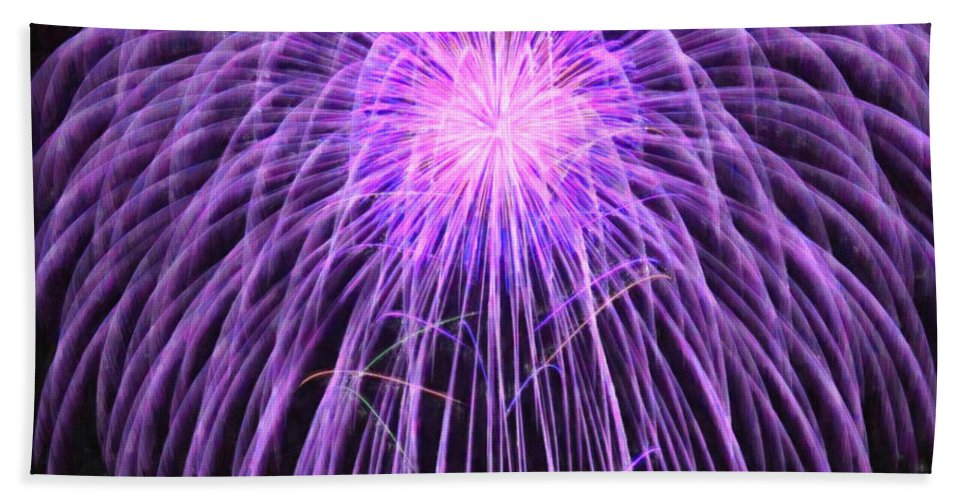 Fireworks At Night Bath Sheet featuring the painting Fireworks At Night 2 by Jeelan Clark