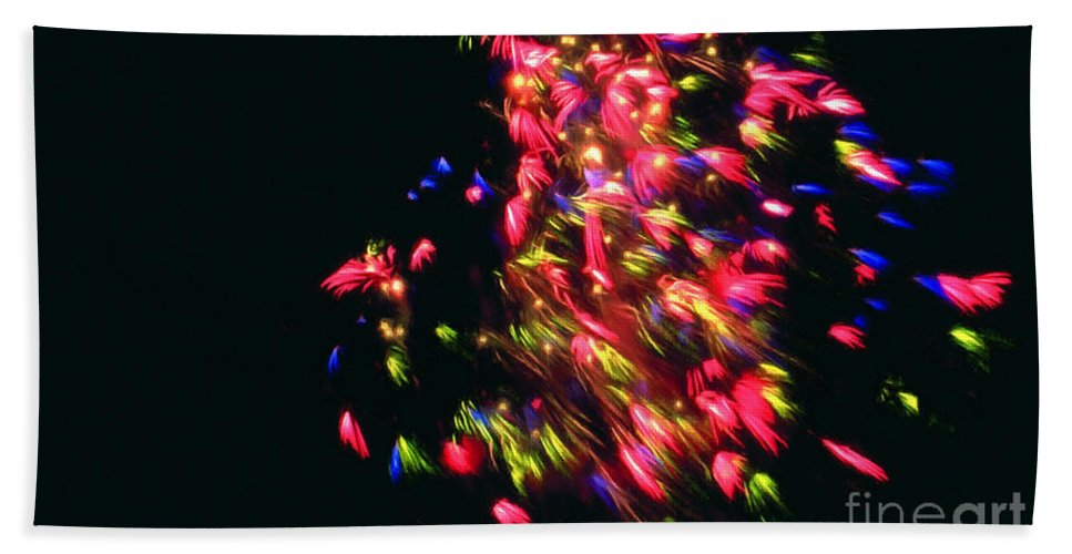 Fireworks At Night Bath Sheet featuring the painting Fireworks At Night 4 by Jeelan Clark