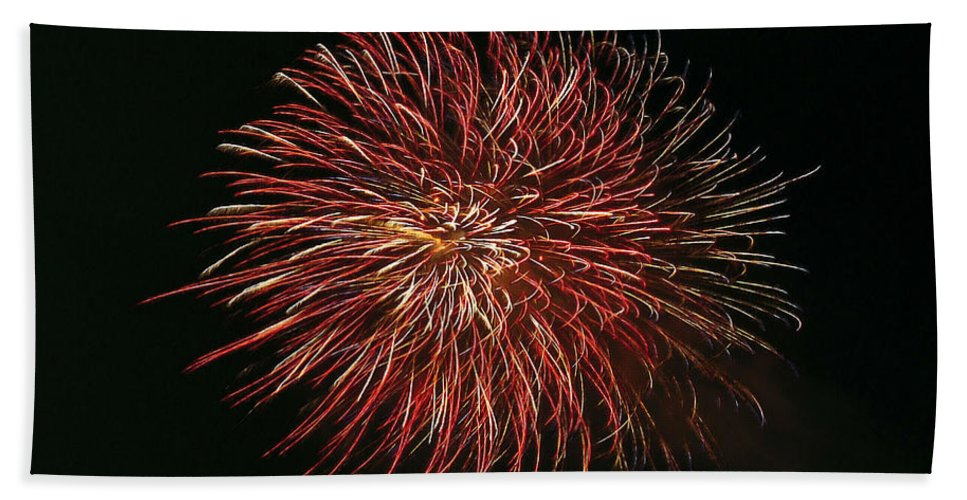 Fireworks At Night Bath Sheet featuring the painting Fireworks At Night 5 by Jeelan Clark
