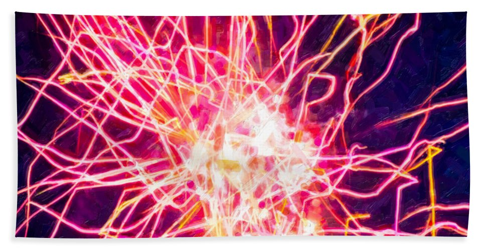 Fireworks At Night Bath Sheet featuring the painting Fireworks At Night 6 by Jeelan Clark
