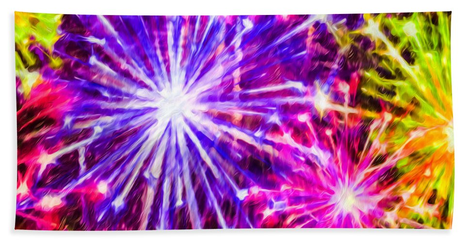 Fireworks At Night Bath Sheet featuring the painting Fireworks At Night 7 by Jeelan Clark