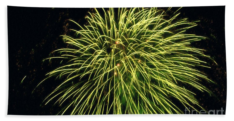 Fireworks At Night Bath Sheet featuring the painting Fireworks At Night 8 by Jeelan Clark