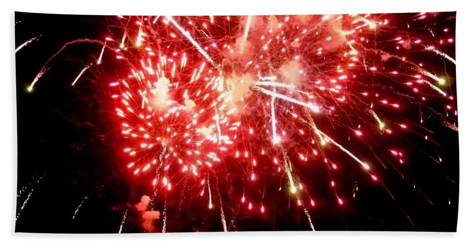 Fireworks Photography Bath Sheet featuring the photograph Fireworks Display At Niagara Falls by Lingfai Leung