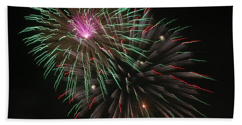 Fireworks Hand Towel featuring the photograph Fireworks Exploding by James DeFazio