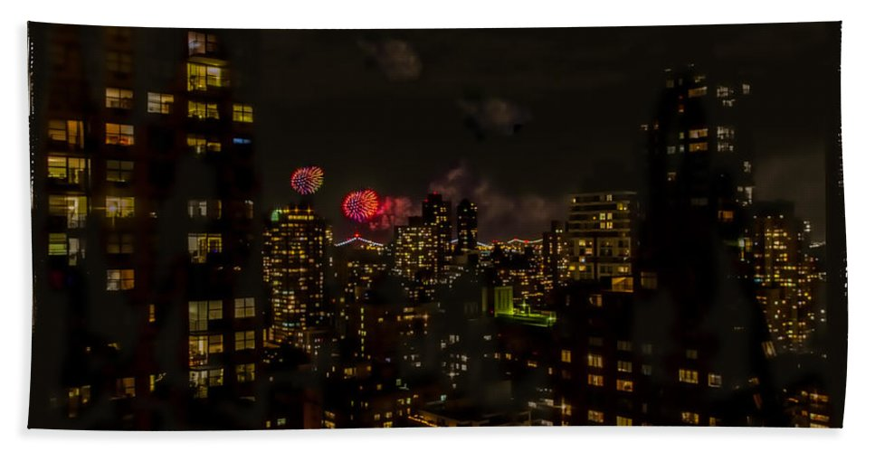 Fireworks Bath Sheet featuring the photograph Fireworks From My Window 1 - Manhattan by Madeline Ellis