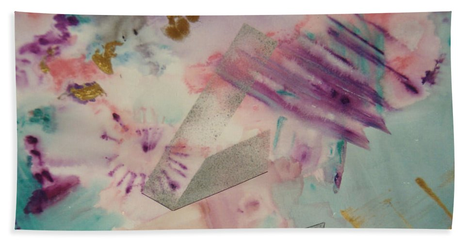 Abstract Hand Towel featuring the painting Fireworks by Graciela Castro